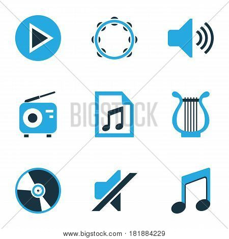 Multimedia Colored Icons Set. Collection Of Tambourine, Radio, Vinyl And Other Elements. Also Includes Symbols Such As Playlist, Silent, Lyre.