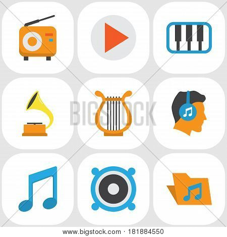 Multimedia Flat Icons Set. Collection Of Loudspeaker, Male, Pianoforte And Other Elements. Also Includes Symbols Such As Pianoforte, Gramophone, Musical.