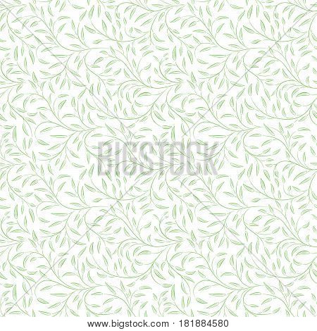 Green seamless pattern of interlaced stems and leaves. No background.  Swatch is included in vector file.