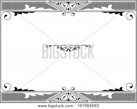 Rectangular black and white frame, header, text divider.