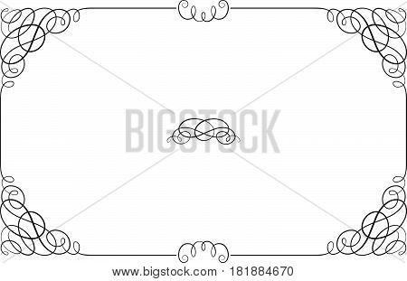 Black rectangular ornate border with vignette corners. Vignette, text divider, header.