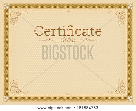 Vintage framework and background. Template for certificate, diploma. Vignettes, text divider. Letter page proportions.