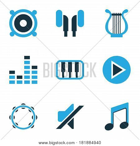 Audio Colored Icons Set. Collection Of Mute, Piano, Headphone And Other Elements. Also Includes Symbols Such As Sound, Tambourine, Headphone.