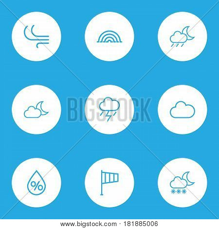 Nature Outlines Set. Collection Of Drop, Lightning, Rainbow And Other Elements. Also Includes Symbols Such As Moon, Rain, Variegation.