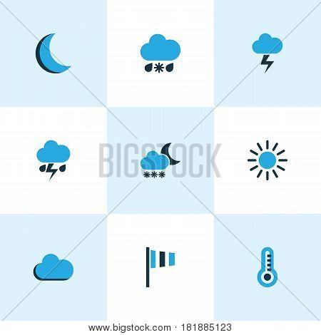 Climate Colored Icons Set. Collection Of Cold Weather, Wind Speed, Sunny And Other Elements. Also Includes Symbols Such As Blizzard, Moon, Night.