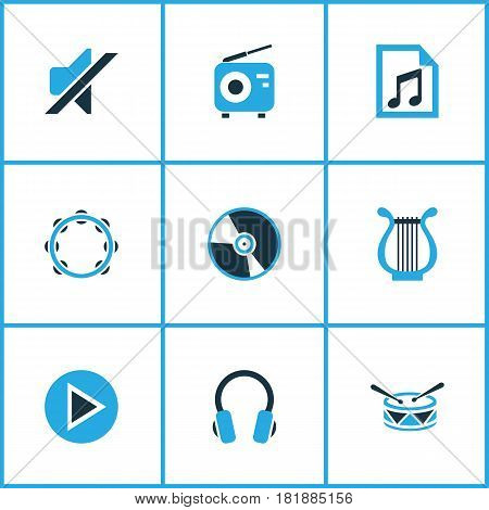 Music Colored Icons Set. Collection Of Harp, Play, Headset And Other Elements. Also Includes Symbols Such As Tuner, Timbrel, Barrel.