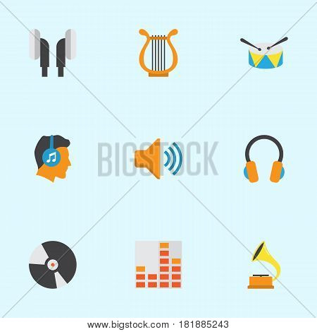 Music Flat Icons Set. Collection Of Band, Dj, Male Elements. Also Includes Symbols Such As Phonograph, Volume, Voice.