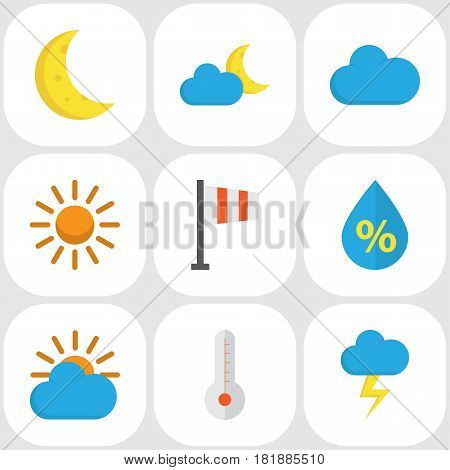 Meteorology Flat Icons Set. Collection Of Sunny, Drop, Crescent And Other Elements. Also Includes Symbols Such As Drip, Moon, Storm.