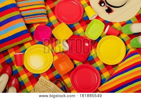 Summer picnic. Colorful dishes for a picnic. Selective focus.
