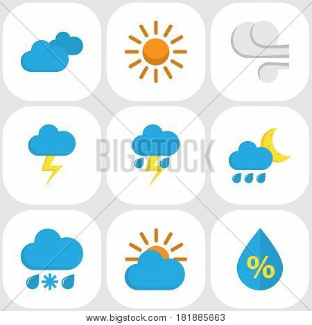 Meteorology Flat Icons Set. Collection Of Sun, Overcast, The Flash And Other Elements. Also Includes Symbols Such As Snow, Blizzard, Storm.
