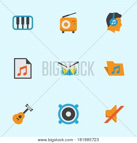 Music Flat Icons Set. Collection Of Acoustic, Male, Media And Other Elements. Also Includes Symbols Such As Portfolio, Instrument, Pianoforte.