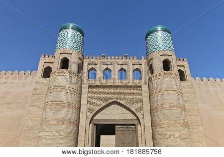 The Kunya Ark gate in Khiva Old Town, Uzbekistan