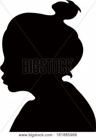 a girl head silhouette vector art work