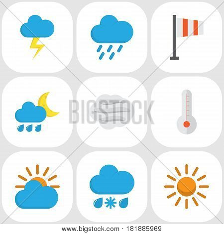 Nature Flat Icons Set. Collection Of Drizzles, Hailstones, The Flash And Other Elements. Also Includes Symbols Such As Sunny, Colors, Snow.