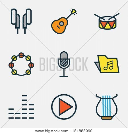 Multimedia Colored Outlines Set. Collection Of Template, Strings, Barrel And Other Elements. Also Includes Symbols Such As Headphone, Sound, Earphones.