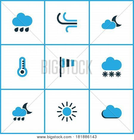 Nature Colored Icons Set. Collection Of Rainfall, Drizzle, Wind Speed And Other Elements. Also Includes Symbols Such As Night, Sun, Snowfall.