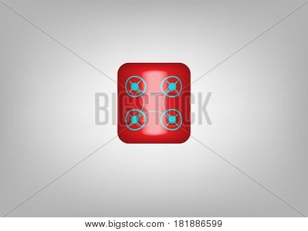Button web drone icon. Drone red symbol. Vector illustration isolated