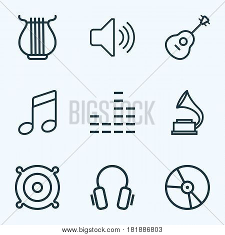 Music Outlines Set. Collection Of Strings, Plastic, Audio Level And Other Elements. Also Includes Symbols Such As Headphone, Speaker, Sounds.