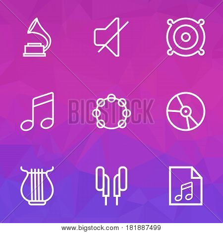 Multimedia Outlines Set. Collection Of Soundtrack, Plastic, Phonograph And Other Elements. Also Includes Symbols Such As Tambourine, Phone, Headphone.