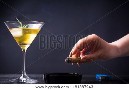 Woman Smoking And Having A Drink