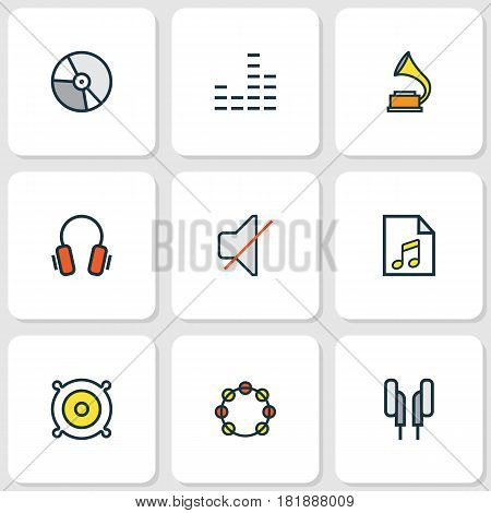 Music Colored Outlines Set. Collection Of Tambourine, Loudspeakers, Earphones And Other Elements. Also Includes Symbols Such As List, Tambourine, Gadget.