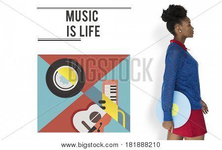 Woman holding music vinyl record audio passion leisure activity