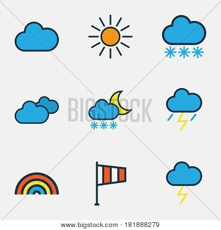 Meteorology Colored Outlines Set. Collection Of Overcast Weather, Cloudburst, Cloudy Day And Other Elements. Also Includes Symbols Such As Cloudy, Overcast, Vane.