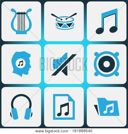 Music Colored Icons Set. Collection Of Drum, Mute, Playlist And Other Elements. Also Includes Symbols Such As Mute, Drum, Barrel.