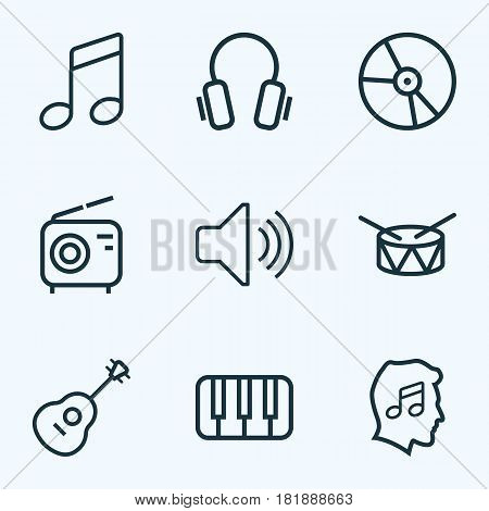 Audio Outlines Set. Collection Of Earphones, Strings, Melody And Other Elements. Also Includes Symbols Such As Guitar, Volume, Circle.
