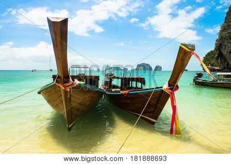 Long tail boat on tropical Railay beach, Aonang, Krabi, Thailand