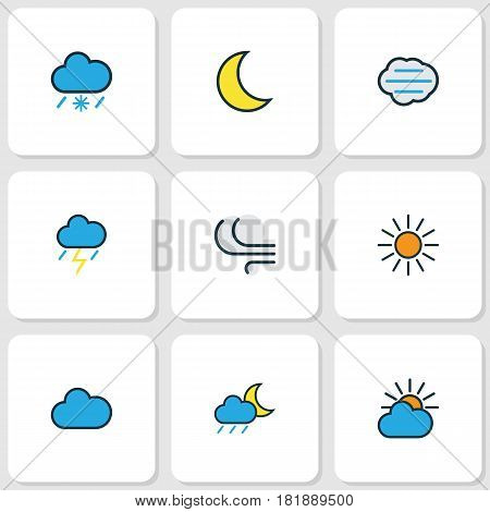 Meteorology Colored Outlines Set. Collection Of Cloudy Day, Windy, Moonbeam And Other Elements. Also Includes Symbols Such As Lunar, Rain, Moon.