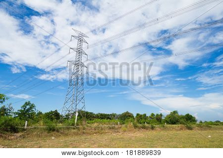High voltage post or High-voltage tower in a rice field