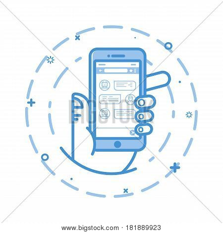 Vector illustration of flat bold line man hand holding smartphone with chatting bot application on the screen. Chatbot message concept. Dialogue on the smartphone screen. Mobile app.