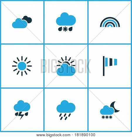 Meteorology Colored Icons Set. Collection Of Cold Weather, Sunny, Thunderstorm And Other Elements. Also Includes Symbols Such As Cold, Snow, Lightning.