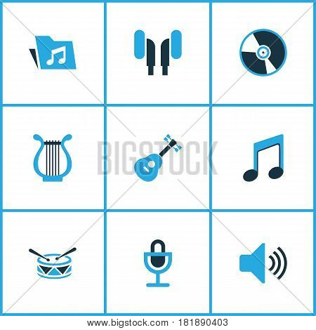 Multimedia Colored Icons Set. Collection Of Microphone, Guitar, Headphone And Other Elements. Also Includes Symbols Such As Speaker, Turntable, Mic.
