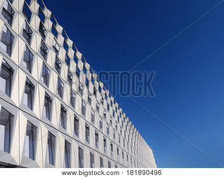 Modern building aluminum facade detail with windows