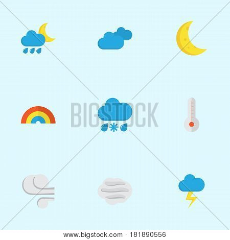 Climate Flat Icons Set. Collection Of Hailstones, The Flash, Windy And Other Elements. Also Includes Symbols Such As Clouds, Bow, Overcast. poster