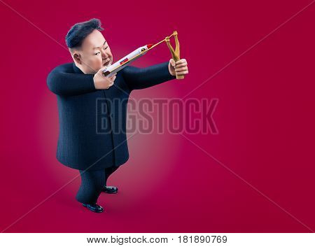 Pyongyang APRIL 11 2017: North Korea threatens to use nuclear weapons. Character portrait of Kim Jong Un. 3D illustration