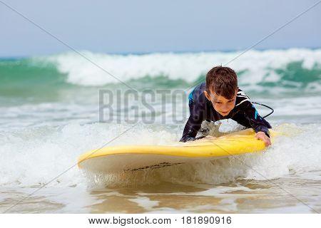 Adorable little blond kid boy having fun on tropical beach of Jamaica
