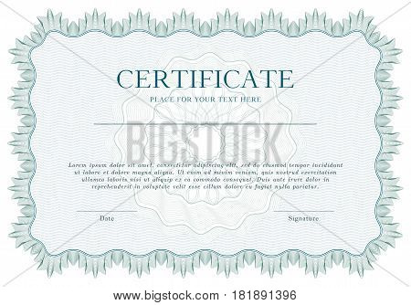 Green Guilloche certificate or diploma template background, modern isolated design. Vector illustration