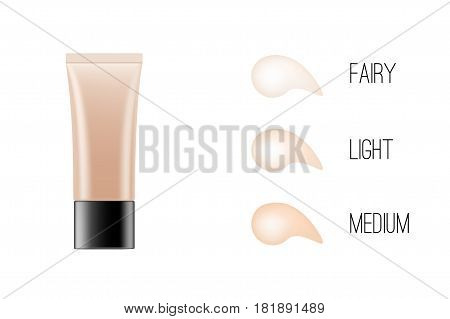 BB-cream foundation concealer packaging Mock-up with skin tone chart. Make-up cosmetic product branding advertisement. Cream tube realistic vector illustration.
