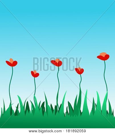 Bright red flowers in green grass. Vector illustration
