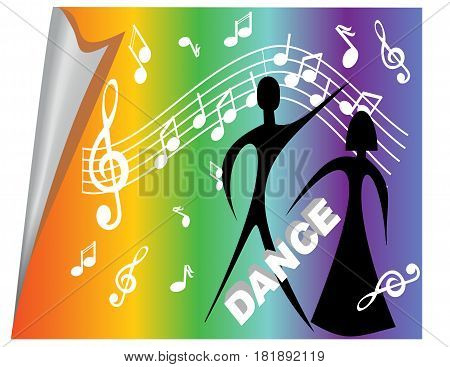 Poster with musical motifs and dancers on rainbow background