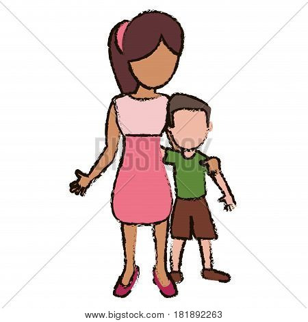 mother and son embraced vector illustration eps 10