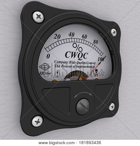 CWQC. Company Wide Quality Control Indicator. The percent of implementation. Analog indicator showing the level of implementation CWQC (Company Wide Quality Control). 3D Illustration. Isolated
