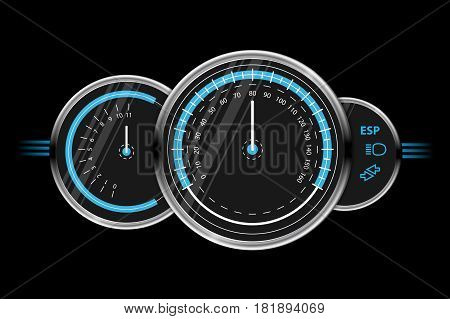 Black and blue vector speedometer design. 10 eps. Isolated vector.