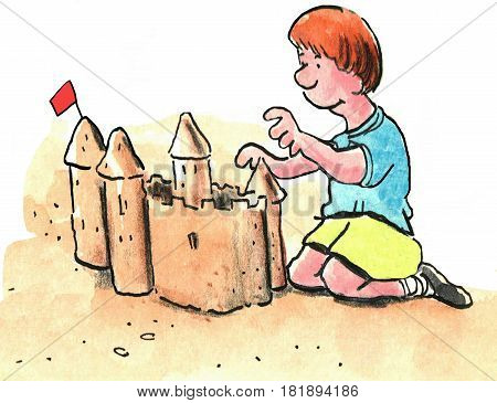 Cartoon illustration of a young boy building a sandcastle at the beach.