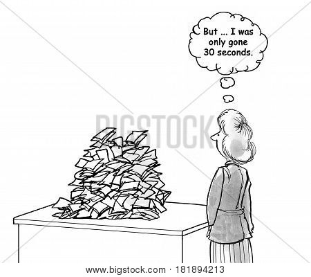 Business cartoon about a businesswoman who is surprised at the mound of paperwork on her desk.