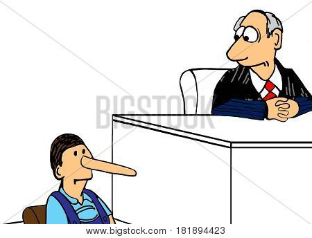 Legal cartoon illustration showing a witness with a very long nose on the witness stand.