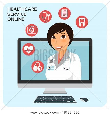 Healthcare service online. Medical consultation concept with female doctor on the laptop screen. Vector illustration.